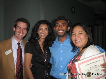 Scholarship winner Asad Khan with his sister and NHI staff Joe Bob Smith & Jan Takeshita.